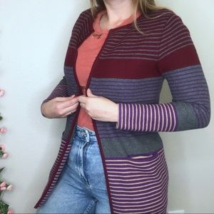 Talbots Striped Colorblock Chunky Knit Cardigan